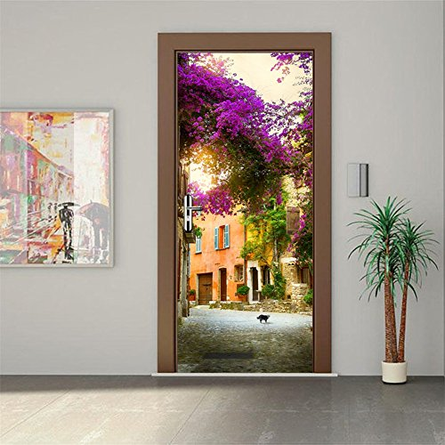 CaseFan 3D Garden House Door Wall Mural Wallpaper Vinyl Removable Stickers for Home Decoration 30.3×78.7″,Multicolor