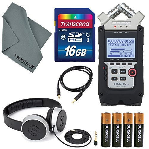 Zoom H4n Pro Handy Mobile 4-Track Recorder - Bundle With 16GB SDHC Card, 4 AA Batteries, Samson SR450 Closed-Back On-Ear Studio Headphones, Microfiber Cloth, 5' Stereo Mini Male 3.5mm TRS Cable from Zoom / Photo Savings