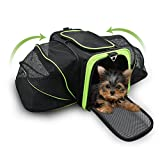 Jespet Expandable Airline Approved Pet Carrier with with Fleece Mat by, Foldable Soft Sided Travel Dog Carrier for Cats Kitten Puppy (16'' L x 9'' W x 9'' H, Black + Neon Green)