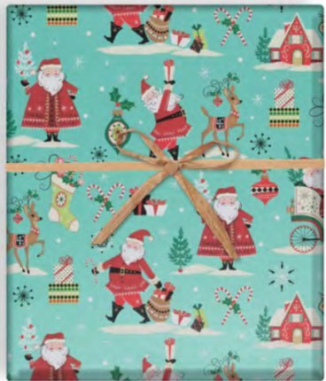dbd12dac97847 Mid Century Modern Christmas Wrapping Paper, 2' x 10' Holiday Gift Wrap  with Vintage Style Santa...