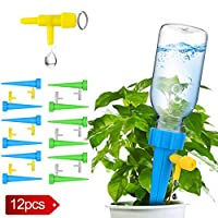 Plant Waterer, Self Watering Spikes, Plant Watering Devices With Slow Release Control Valve Switch, Automatic Vacation Drip Watering Bulbs Globes Stakes System For Indoor & Outdoor Plants (12 pack)