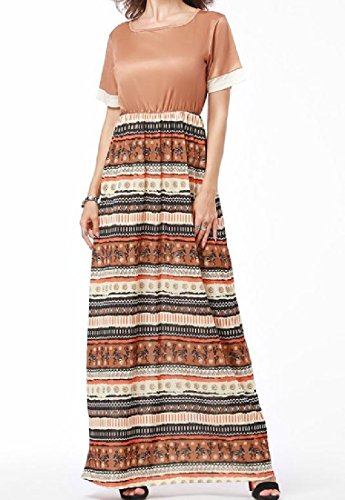 Stitch Tan Dress Hem Maxi Light Coolred Crewneck Wide Short Women's Sleeve Beach xnIqRPA