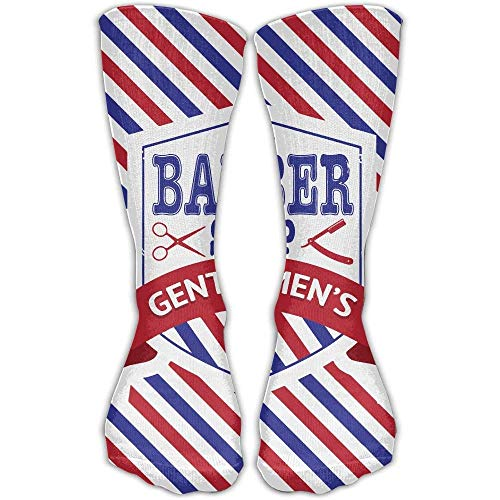 Price comparison product image Men Women Vintage Emblem Of Barber Shop Flag Novelty Sport Stocking Socks Athletic High Sock Gift Outdoor