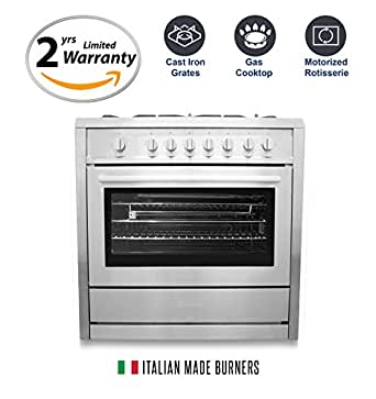 Cosmo COS-965AG 36 in. Freestanding Professional Style Gas Range with 3.8 cu. ft. Oven, 5 Italian Made Burners, Cast Iron Grates, in Stainless Steel with Motorized Rotisserie
