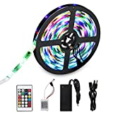 SDlife Flexible LED Light Strip, Waterproof Flicker Color Changing 16.4Ft(5M) 150 Leds SMD 5050 Led Strip Lights with 24 Key Ir Controller and Power Supply for Party, Indoor and Outdoor