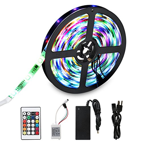Flexible LED Light Strip, SDlife Waterproof Flicker Color Changing 16.4Ft(5M) 150 Leds SMD 5050 Led Strip Lights with 24 Key Ir Controller and Power Supply for Party, Indoor and Outdoor (150's Single Mens Superior)