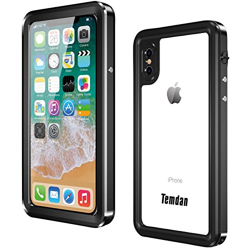 Temdan iPhone X Waterproof Case, Premium MetaI Made IP68 Waterproof Full-Body Protect Rugged Case with Built-in Screen Protector Underwater Case for iPhone X 2017 (Black/Clear) (Metal)