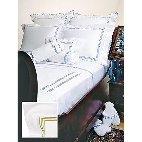 Hampton Court Luxury Bedding Sheet Sets Full 100 Egyptian Cotton Sateen 1 Flat 1 Fitted 2 Std Shams Green Orange Green