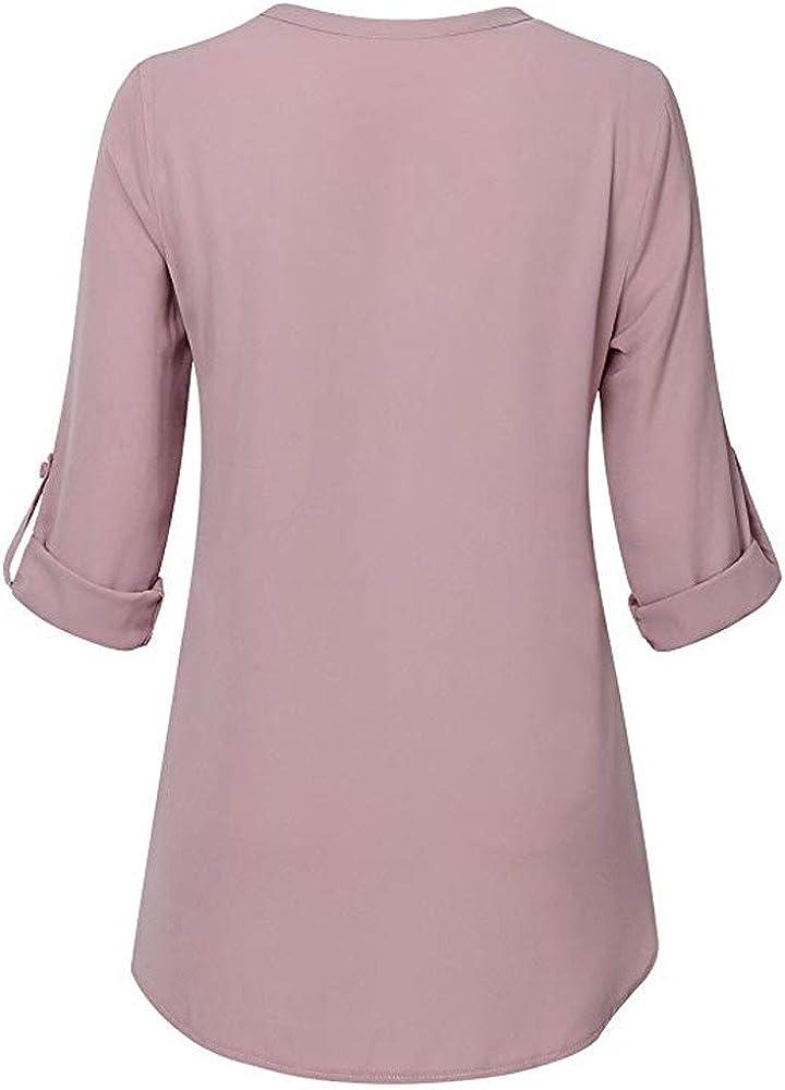 KEERADS T-Shirt Femmes du Quotidien Mousseline de Soie en Vrac Manche 3//4 Solide Bouton Col en v Menott/é Moussline de Soie Chemise Blouse Tops