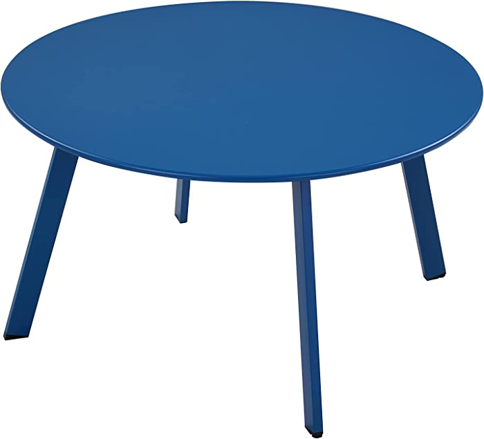 Grand patio Round Steel Patio Coffee Table, Weather Resistant Outdoor Large Side Table, Peacock Blue