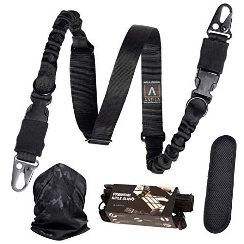 The Experts Choice - Superior 2 Point Rifle Sling Durable, Adjustable, High Impact Gun Strap with Shoulder Pad and Strong Large Metal Clips + Bandana and 2 Skill Improvement eBooks (Best Single Point Sling)