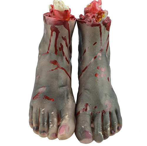 Dead Terrorist Halloween Costume - LETSQK Horror Fake Severed Feet Bloody Broken Body Parts Props for Halloween Party