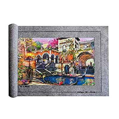 Puzzle Mat,Jigsaw Storage Felt Mat,Jigsaw Puzzle Storage Roll Up Mat,1,500 Pieces Puzzle Pad Saver,with Inflatable Tube Pump Storage Bag (Grey) …: Toys & Games