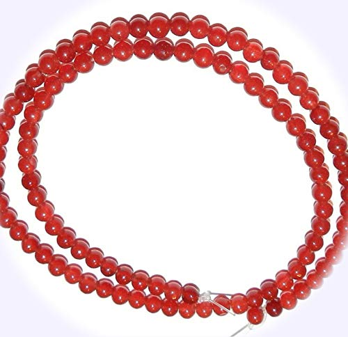 New Coral Red Candy Jade 4mm Round Quartz Jewelry-Making Beads 16-inch DIY Craft Supplies for Handmade Bracelet Necklace