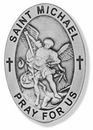 (Good Shepherd Creations Pewter Visor Clip Catholic Saint Engraving (Saint Michael))