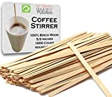 Wooden Coffee Stir Sticks 1500 Count - Eco-Friendly Splinter-Free Birch Wood - Disposable Coffee, Tea, Beverage Mixing Stirrers with Round Ends