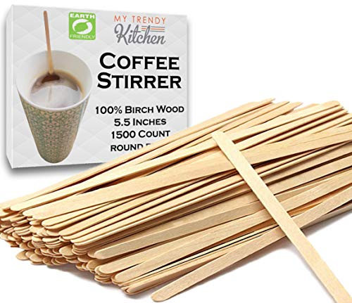 Wooden Coffee Stir Sticks 1500 Count - Eco-Friendly Splinter-Free Birch Wood - Disposable Coffee, Tea, Beverage Mixing Stirrers with Round Ends ()