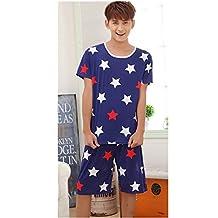 KAKA(TM) Couple Lover Fashion Cartoon Summer Pure Cotton Pyjamas Homewear Sleepwear Short Sleeve short Pants(XL)-Blue Star