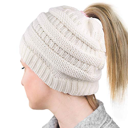 Lvaiz Womens Ponytail Beanie Tail Crochet Knitted Messy Bun Knit Hat Stretch Cable Chunky Bun Hat Cap (Crochet Hat Beanie Cap)