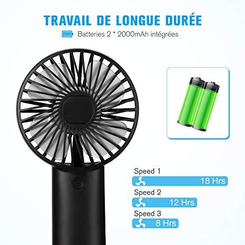 isYoung Mini Ventilateur avec Batteries Rechargeables USB 4000mAH 8-20 Heures de Travail 3 Réglages de Vitesse Accessoires de Voyage - Noir