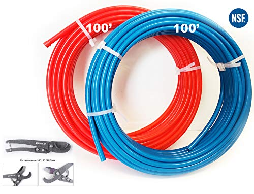EFIELD PEX Pipe/Tubing (NSF Certified) BLUE&RED 3/4 inch 2X 100ft Rolls 200ft Length Potable Water with Pipe Cutter ()