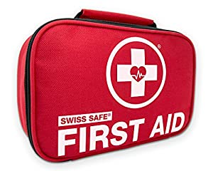 Red first aid kit zipped up