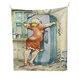 Funnyfunny tapestryA Plump Woman Embracing The Fridge with...
