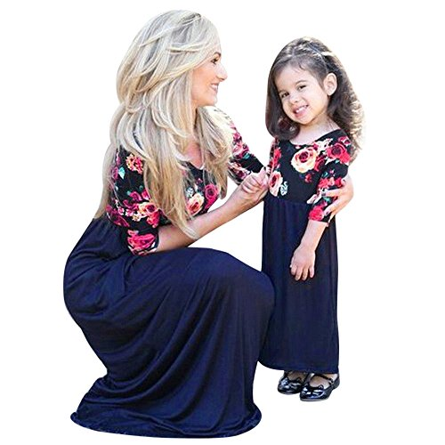 Kehen Parent-Child Outfit,Mommy and Me Floral Half Sleeve Maxi Dress Stitching Dress Family Matching Costume (Blue (Girls), 2-3T)