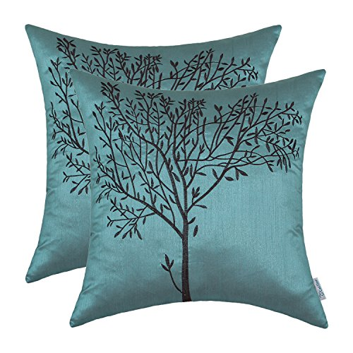 CaliTime Pack of 2 Cushion Covers Throw Pillow Cases Shells for Sofa Couch Home Decoration Natural Tree Embroidered 18 X 18 Inches Teal Brown (Pillows Brown And Turquoise)
