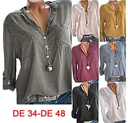 Loose Et Vin Manches Chemise Pois T Chemisier Blouse Femmes Longues Hauts Imprimer Button Rouge Shirts 8OqH7ww