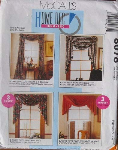 (McCalls 8078 Curtains Home Decor Swag, Jabot, Valance Victorian)
