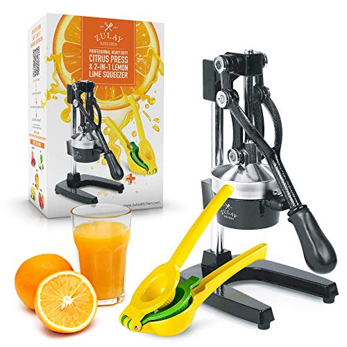 Zulay Professional Citrus Juicer - Manual Citrus Press and Orange Squeezer + 2 in 1 Metal Lemon Squeezer COMPLETE SET - Premium Quality Heavy Duty Manual Orange Juicer and Lime Squeezer Press Stand (Best And Easiest Juicer)