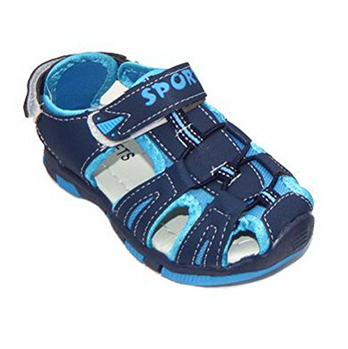 100172 Jungen Sandalen luftig offen, Sommerschuhe, Klettverschluss, Navy/Blau