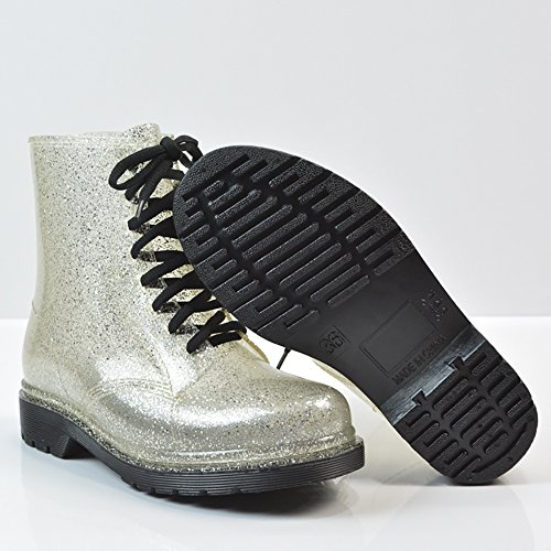 Rain Boots Toe up Round Transparent Womens Shoes Martin QZUnique Waterproof Lace Silver Rain 1xv4qxwO