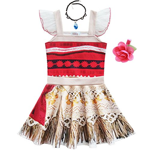 Rainawby Toddler Little Girls Princess Dress Outfit with Ruffle Sleeve for Moana- Ladybug Cosplay Costume Party Dress up (90cm(2-3Y), white) -