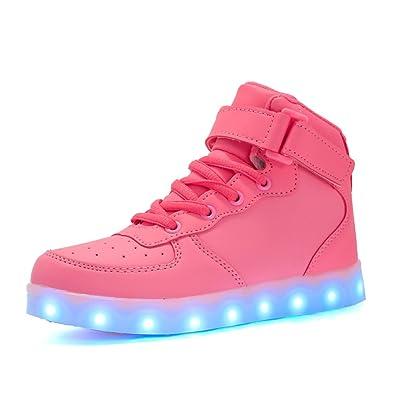 buy popular e8bfd 5afa9 Maniamixx Kinder LED Leuchten Blinkende Schuhe für Mädchen und Jungen  High-top Wiederaufladbare Turnschuhe mit USB-Kabel
