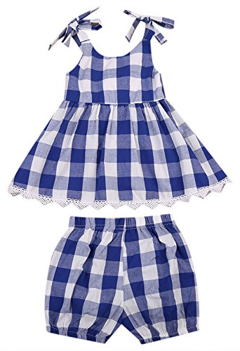 (MUNI Cute Baby Girls Clothes Blue Plaid A-Line Top Blouse+Bloomer Shorts 2pcs Outfit Set (3-4 Years,)