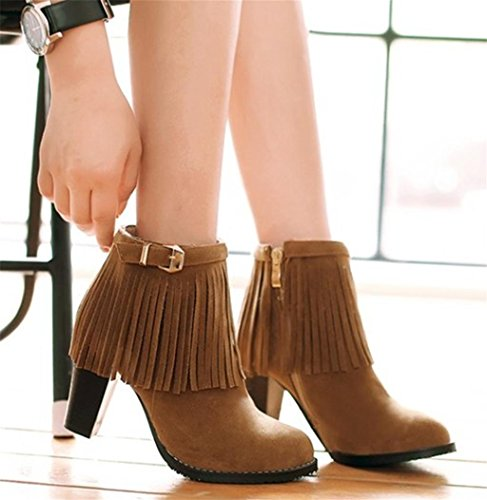 Tassel High Boots Heel Dark Bowtie Kitzen Round Pumps Brown Dress Head Party With Women's Suede ZEqx4nTX
