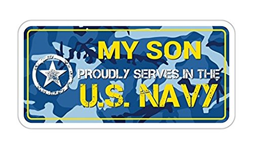 3 Pack - My Son Proudly serves in the US Navy U.S. Vinyl Bumper Sticker Decal Navy Blue Camouflage
