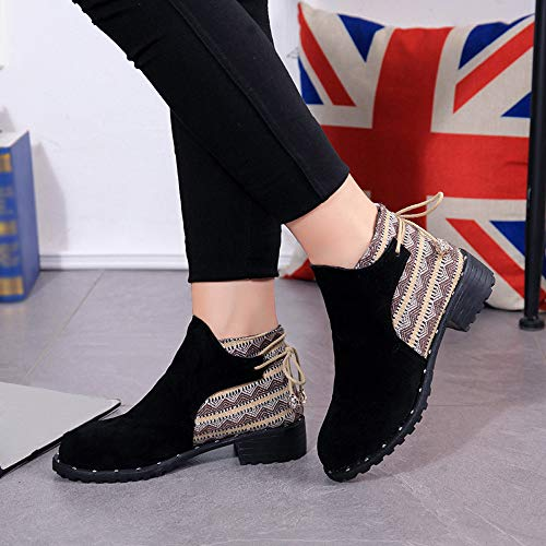 Deportes rebaño de Zapatos de para Botines Zapatillas Martin Casual Botas Mujer Negro QinMM Mocasines pqPRnE