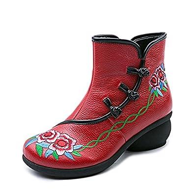 MEI&S Frauen Stickerei Nude Schuh Stiefel Nationalen Stil Rauhe Ferse Kurzes Rohr, Schwarz, 38 LSM-Stiefel