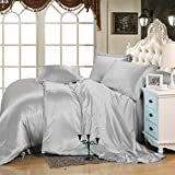 MoonLight Bedding Luxury Soft Silky Satin 5-Pcs Duvet Set ( 1 Duvet cover & 4 Pillowcases) Twin/Twin XL, Silver grey