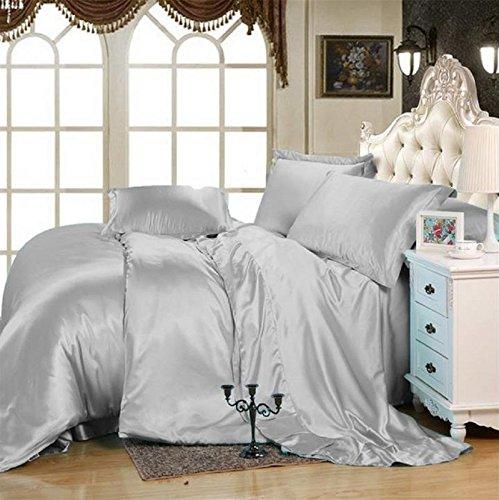 MoonLight Bedding Luxury Soft Silky Satin 5-Pcs Duvet Set ( 1 Duvet cover & 4 Pillowcases) Twin/Twin XL, Silver grey