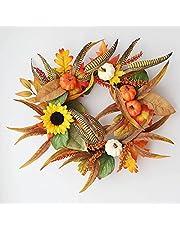 NC Halloween Herfst Krans 40 cm Pompoen Berry Deur Opknoping Oogst Festival Rotan Cirkel Kunstmatige Bloem Thanksgiving Krans Woondecoratie
