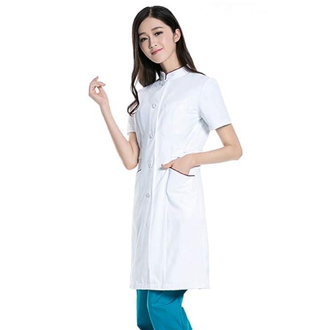 ESENHUANG Abrigos De Laboratorio Blanco Uniformes Médicos Servicios De Enfermeras Ropa Protección De Poliéster Ropa Médica Hospitalaria: Amazon.es: Ropa y ...