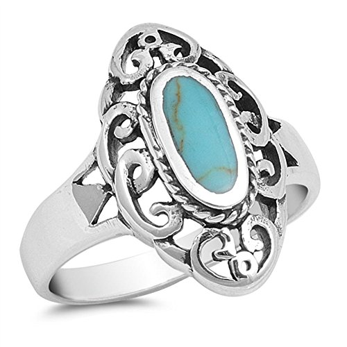 Swirl Wicked Witch Mirror Designer Simulated Turquoise Ring Sterling Silver 925 Size 12