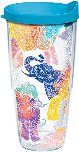 Tervis 1221837 Mehndi Elephants Tumbler with Wrap and Turquoise Lid 24oz, Clear by Tervis