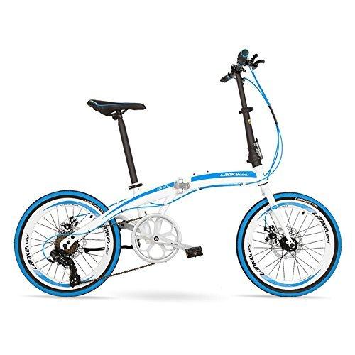 QF600G 20インチ折りたたみ自転車、7スピード折りたたみ自転車、高炭素鋼フレーム、BMX、両ディスクブレーキ B078Z6DQ8T 白靑 白靑