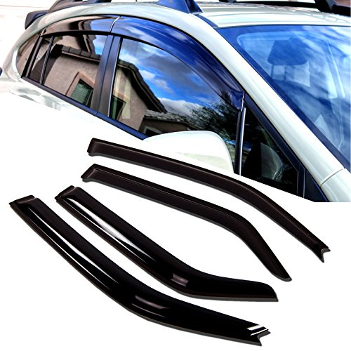 TuningPros WD-836 Tinted Smoke Out-Channel Window Visor Deflector Rain Guard 4-pc Set (2014 Nissan Rogue Window Guards compare prices)