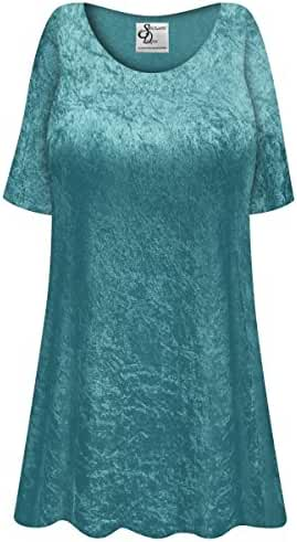 Dark Teal Crush Velvet Plus Size Supersize Extra Long A-Line Top